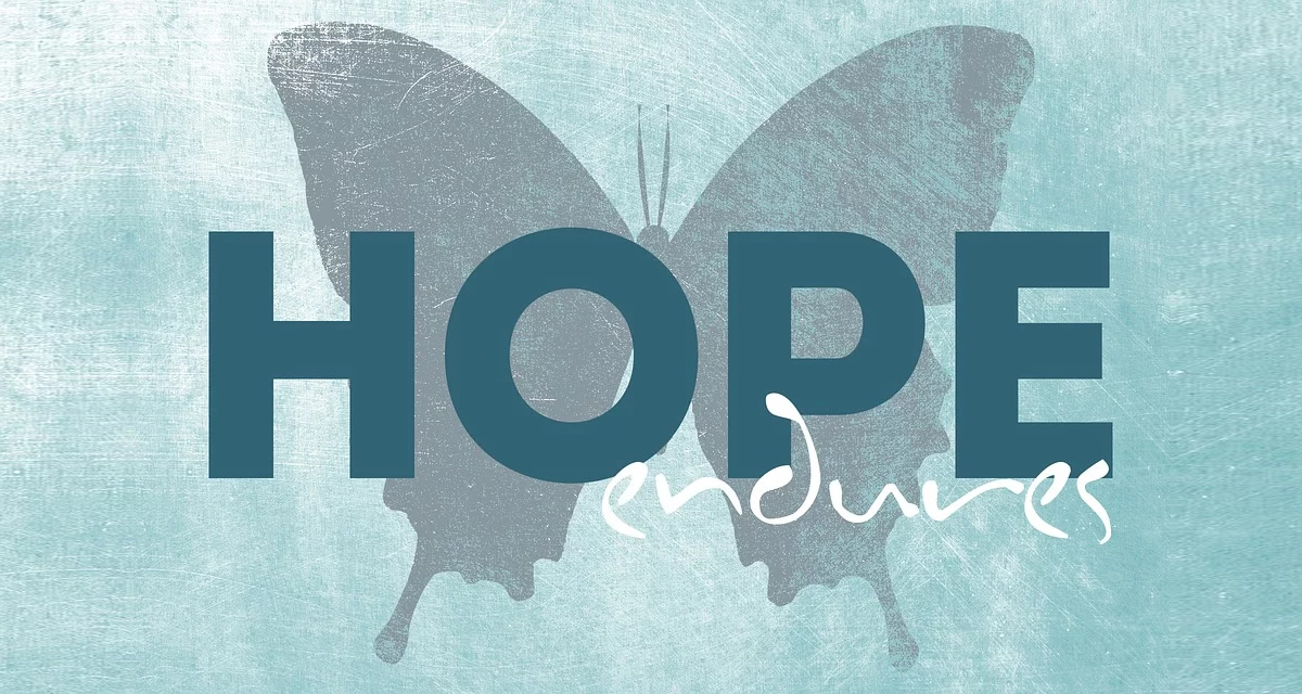 butterfly silhouette with text: hope endures